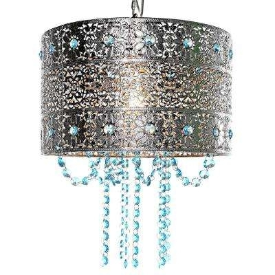 Newest Drum – Silver – Chandeliers – Lighting – The Home Depot With Regard To Turquoise Drum Chandeliers (View 6 of 10)