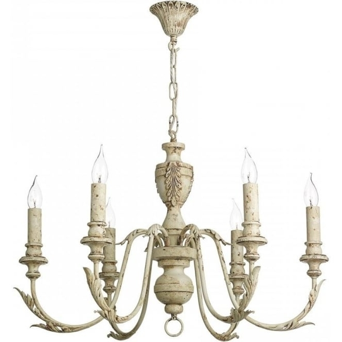 Newest French Style Chandelier Pertaining To Emile Distressed Cream Painted Chandelier In French Shabby Chic Style (Gallery 4 of 10)