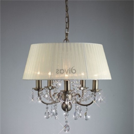 Newest Il30048 Olivia 5 Light Antique Brass And Crystal Chandelier With In Cream Crystal Chandelier (View 7 of 10)