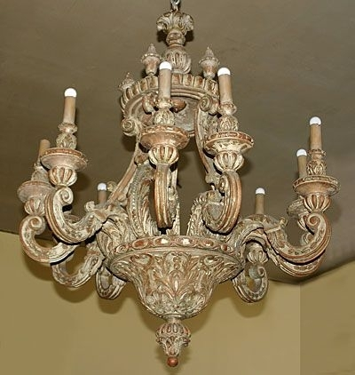 Newest Italian Chandelier Style Intended For Italian, Baroque Style, Painted Pine, Ten Light Chandelier: With (View 9 of 10)