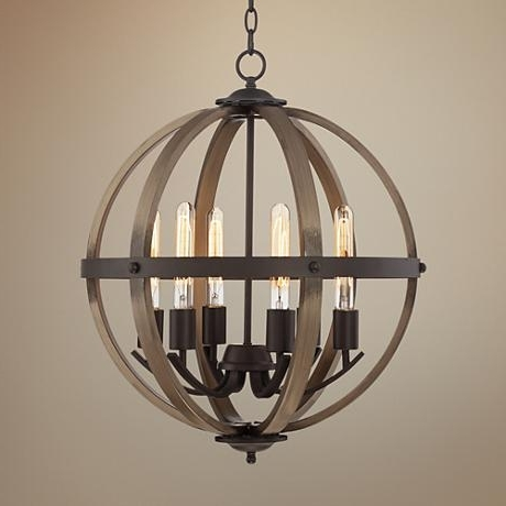 "Newest Kimpton 6 Light 21"" Wide Dark Bronze And Wood Orb Chandelier Pertaining To Orb Chandeliers (View 5 of 10)"