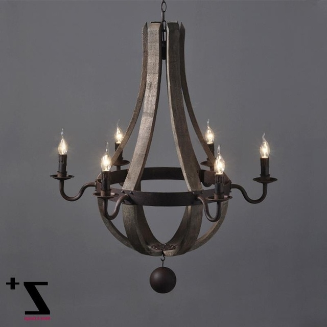 Newest Metal Ball Chandeliers In Industrial Vintage Wrought Iron Metal Iron Wood Chandelier 6 Lights (View 8 of 10)