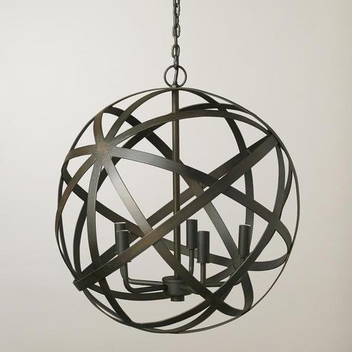 Newest Metal Sphere Chandelier Regarding Orb Black Chandelier (View 9 of 10)