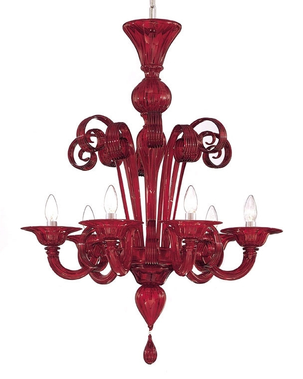 Newest Modern Red Chandelier Regarding Red Murano Glass Chandelier (View 7 of 10)