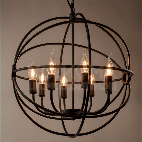 Newest Orb Iron Chandelier Black Iron Replica Inside Iron Chandelier (View 9 of 10)