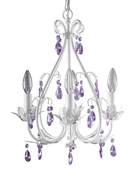 Newest Purple Crystal Chandeliers Inside Firefly Kids Lighting – Sophia 4 Arm Crystal Chandelier, Purple (View 5 of 10)