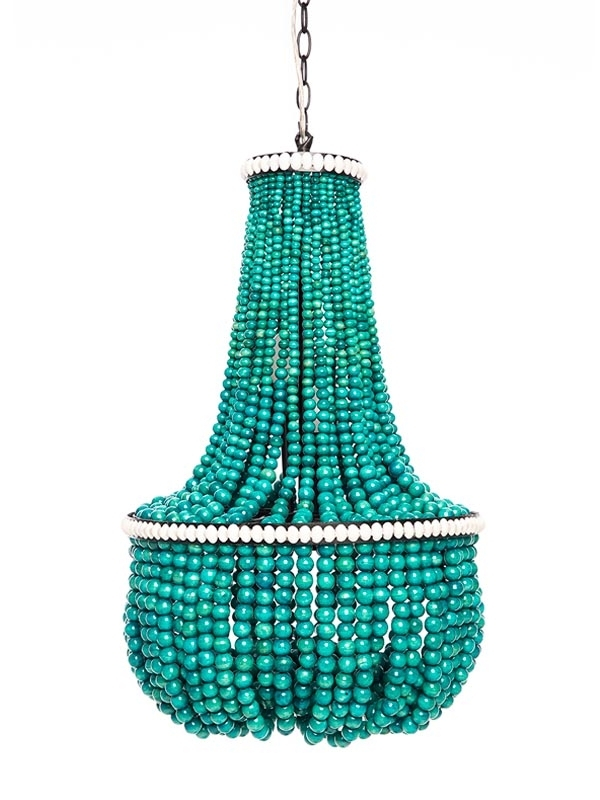 Newest Turquoise Beaded Chandeliers High Amp Diy Apartment Therapy Regarding Diy Turquoise Beaded Chandeliers (Gallery 2 of 10)