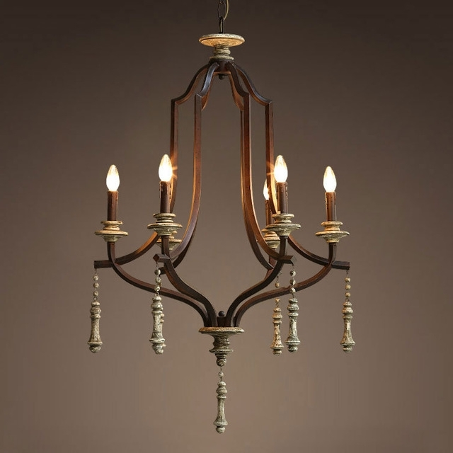 Newest Vintage Wrought Iron Chandelier With Regard To Nordic Expression / American / French / Country / Vintage Wrought (View 6 of 10)