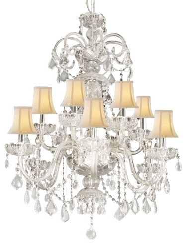 Newest White Chandelier With Shades – Jeffreypeak With Crystal Chandeliers With Shades (Gallery 10 of 10)