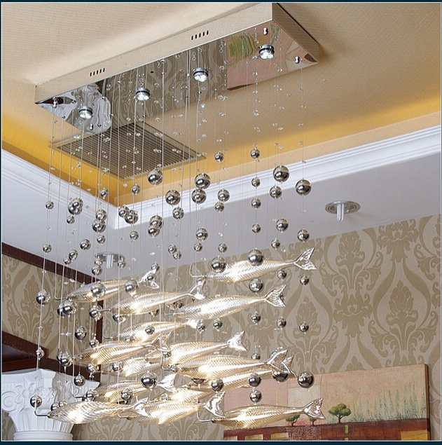 Novel Creative Crystal Glass Flying Fish Chandelier For Restaurant Within Well Known Chandelier For Restaurant (Gallery 1 of 10)
