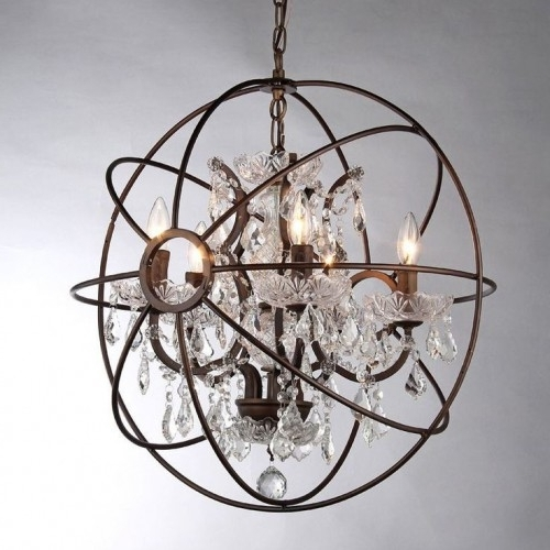 Orb Crystal Chandelier Rustic Iron Replica With Most Up To Date Crystal Globe Chandelier (Gallery 4 of 10)
