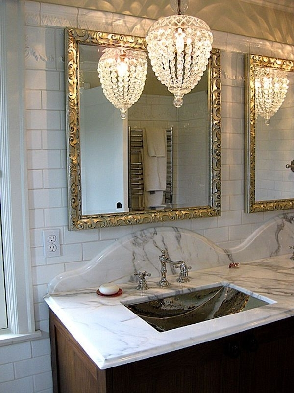 Oversized Mirror, Luxurious Bathrooms And Vintage Within Crystal Bathroom Chandelier (View 8 of 10)