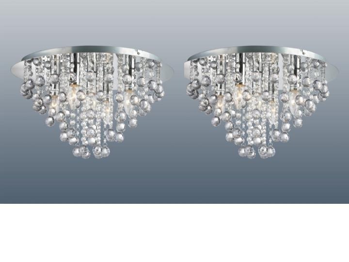 Pair Of Chrome Round Flush Fitting Chandelier Ceiling Lights Crystal Within Most Recently Released Flush Fitting Chandeliers (View 7 of 10)
