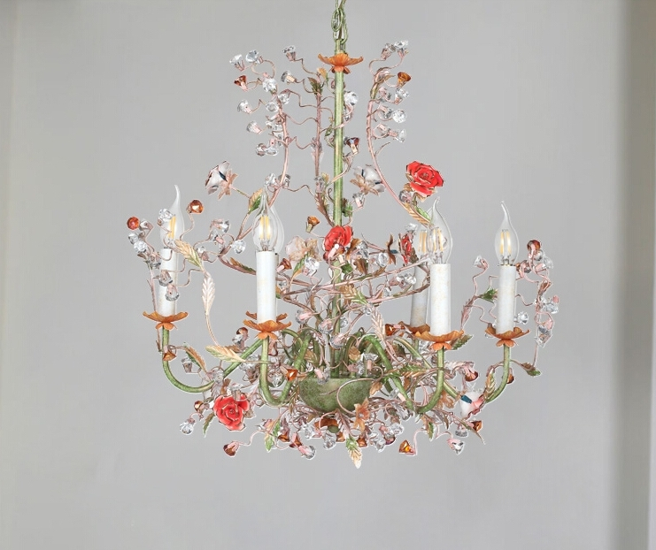 Pastoral 6 Light Rose Shaped Crystal Chandelier Lighting In Latest Modern Chandeliers (View 8 of 10)