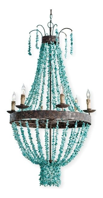 Pensacola Coastal Beach Beaded Turquoise Metal Chandelier – Beach Intended For Famous Turquoise Gem Chandelier Lamps (View 5 of 10)
