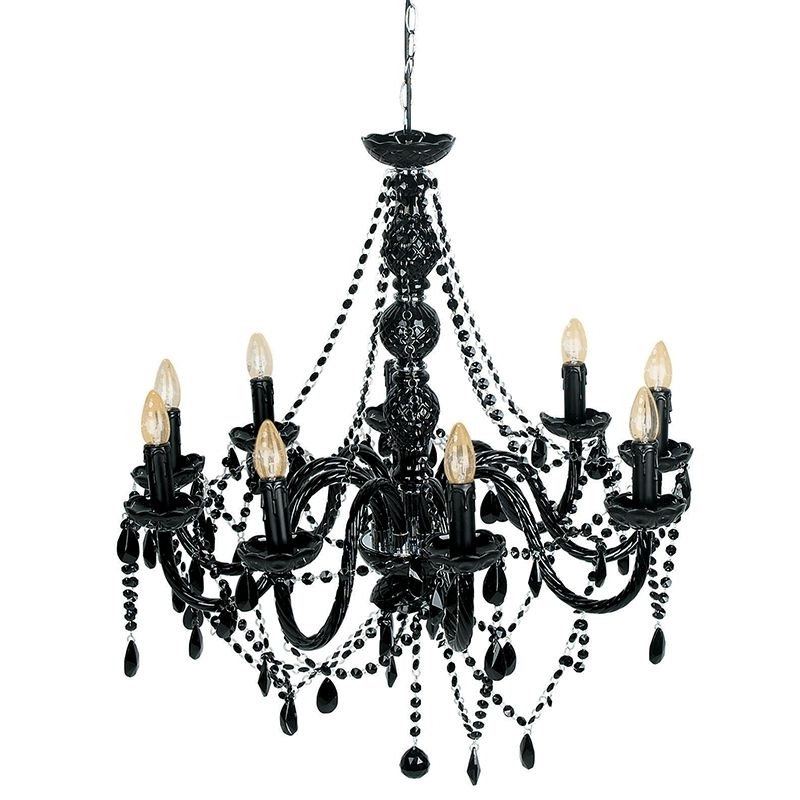 Popular Black Glass Chandeliers Inside Mariah 9 Arm Black Glass Chandelier (Gallery 2 of 10)