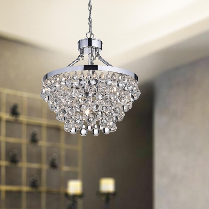 Popular Crystal And Chrome Chandeliers With Regard To Chrome And Glass Chandelier – Buzzmark (View 10 of 10)
