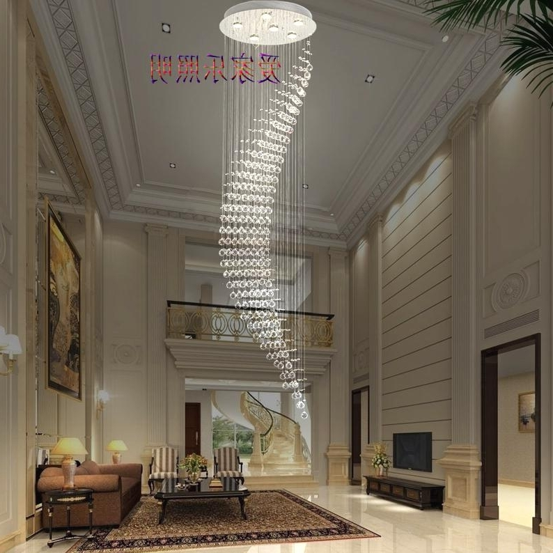 Popular Long Double Staircase Lights Led Crystal Lamp Chandelier Modern Within Long Chandelier Lights (View 8 of 10)