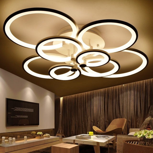 Popular Modern Chandelier Pertaining To Rings White Finished Chandeliers Led Circle Modern Chandelier Lights (View 5 of 10)