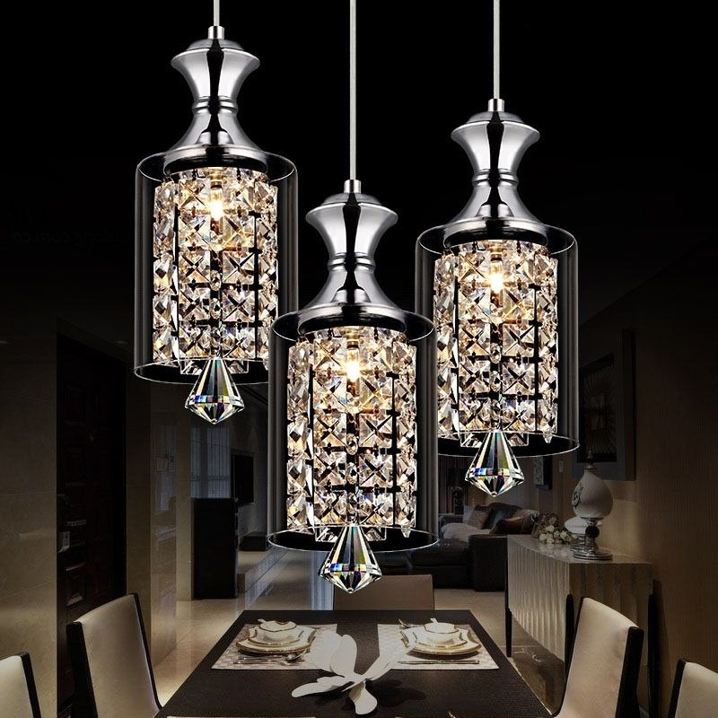 Popular Modern Pendant Chandelier Lighting Inside Modern Pendant Chandelier 15W Led Crystal Pendant Lamp Three Head (View 8 of 10)