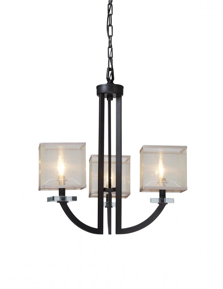 Popular Small Bronze Chandelier Regarding Three Light Organza Shade Oil Rubbed Bronze Up Mini Chandelier (View 5 of 10)