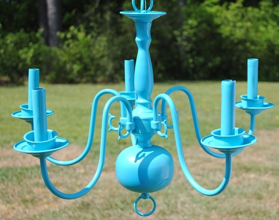 Popular Teal Blue Chandelier. Turquoise. Lighting. Home Decor (View 4 of 10)