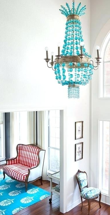 Popular Turquoise Blue Beaded Chandeliers For Turquoise Chandelier Light Plus Contemporary Foyer With A Turquoise (View 5 of 10)