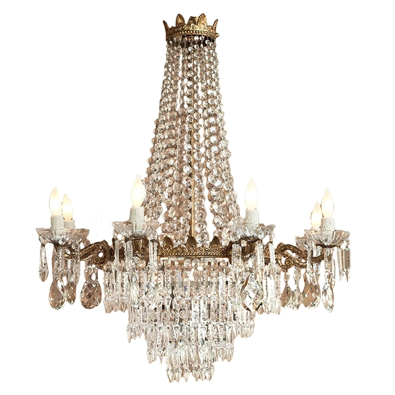 Popular Vintage Chandeliers Within Home Design : Wonderful Vintage Chandelier Crystals Fresh Antique (View 6 of 10)