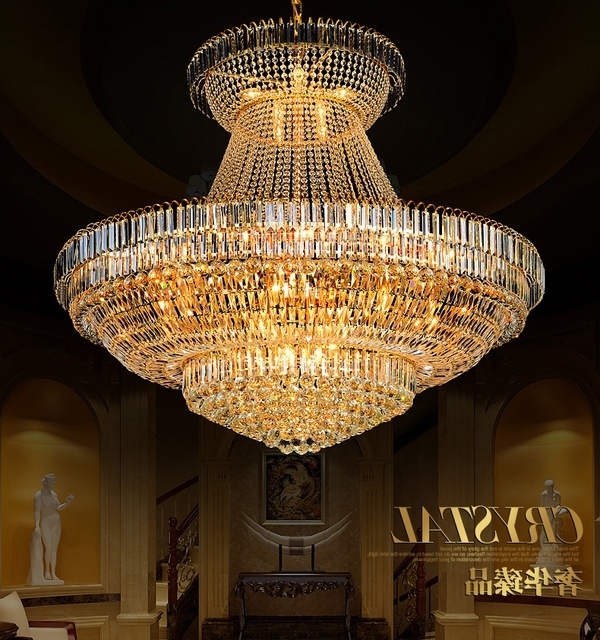 Preferred Big Chandeliers In Led Modern Gold Crystal Chandeliers Lights Fixture Round Crystal (View 9 of 10)