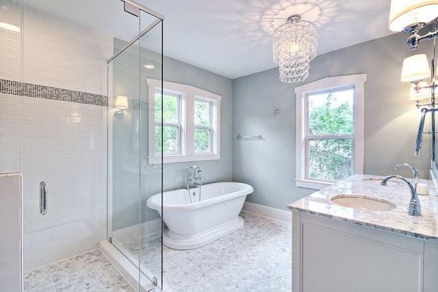 Preferred Chandeliers For Bathrooms Inside Spa Like Master Bath With Glass Chandelier And Pedestal Tub (View 8 of 10)