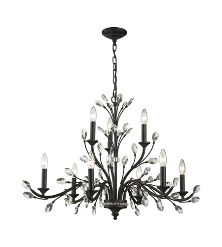 Preferred Crystal Branch Chandelier With Elk 11776/6+3 Crystal Branches 9 Light 33 Inch Burnt Bronze (View 10 of 10)