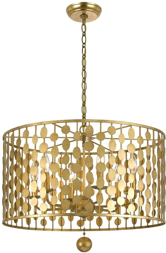 Preferred Drum Pendant Chandelier Edrexco Gold Crystorama 545 Ga Layla Modern Pertaining To Turquoise Drum Chandeliers (View 7 of 10)
