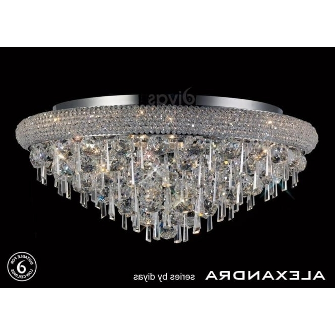 Preferred Flush Fitting Chandeliers Inside Diyas Alexandra 9 Light Semi Flush Ceiling Fitting With Crystal (View 9 of 10)