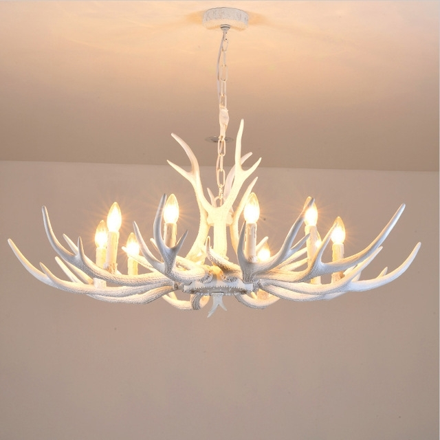 Preferred Modern White Antler Chandelier Novelty Lustre Light For Dining Room Inside Antler Chandelier (View 6 of 10)