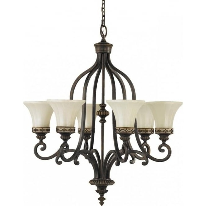Preferred Walnut Bronze Ceiling Light Fitting With 6 Lights In Classic Styling Intended For Edwardian Chandelier (View 8 of 10)
