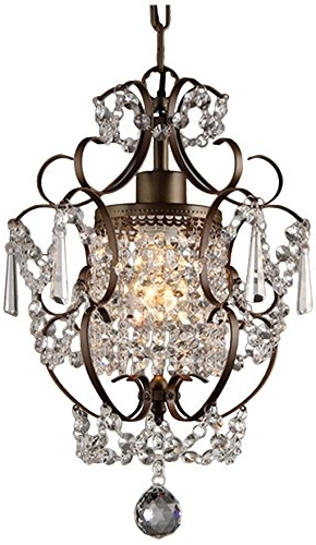 "Preferred Whse Of Tiffany Rl4025Br Rosalie 1 Light Antique Bronze 11"" Crystal Inside Bronze And Crystal Chandeliers (View 9 of 10)"