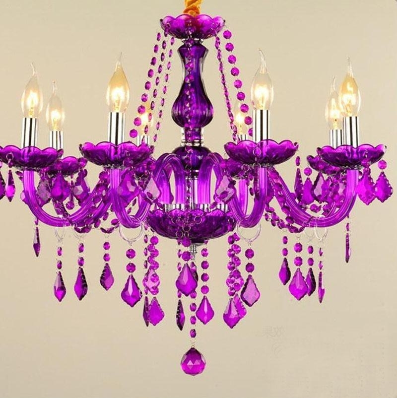 Purple Crystal Chandelier Lights In Widely Used Modern Purple Color 6 Lights 8 Lights Crystal Chandelier Pendant (View 5 of 10)