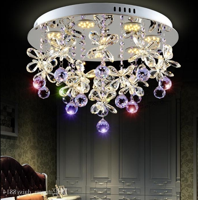 Purple Crystal Chandelier Lights Intended For Famous Beautiful Design Purple Crystal Chandelier Ceiling Led Light (View 6 of 10)