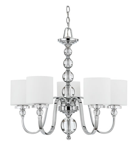 Quoizel Dw5005C Downtown 5 Light 28 Inch Polished Chrome Chandelier Throughout Latest Chandelier Chrome (View 9 of 10)