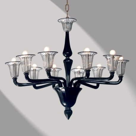 "Recent Black Glass Chandelier With Regard To Coco"" Black Murano Glass Chandelier – Murano Glass Chandeliers (View 10 of 10)"