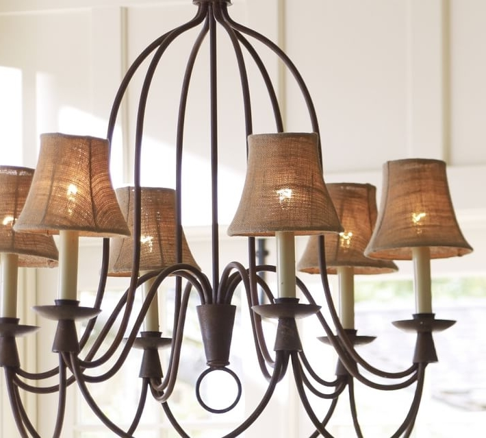 Recent Chandeliers With Lamp Shades Within Furniture : Inspiring Chandelier Lampshades Set Candles On The (View 9 of 10)