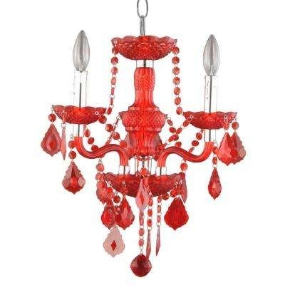 Red Chandeliers Regarding Widely Used Red – Chandeliers – Lighting – The Home Depot (View 7 of 10)