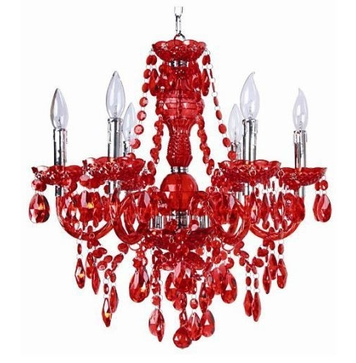 Red Chandeliers With Regard To Famous Unexpected Elegance: Chandeliers In The Bedroom (View 9 of 10)
