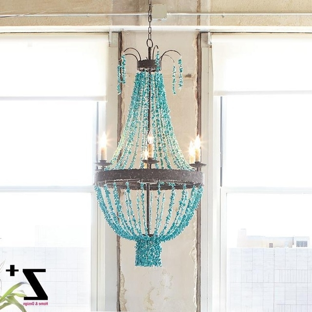 Replica Item Blue Stone Turquoise Beads Six Light Chandelier D70Cm Intended For Trendy Turquoise Stone Chandelier Lighting (View 6 of 10)