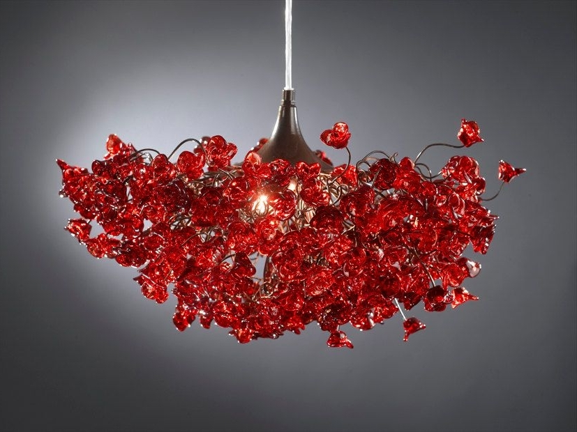 Romantic Chandeliers With Red Roses Flowers For Living Room, Bedroom With Well Liked Red Chandeliers (View 10 of 10)