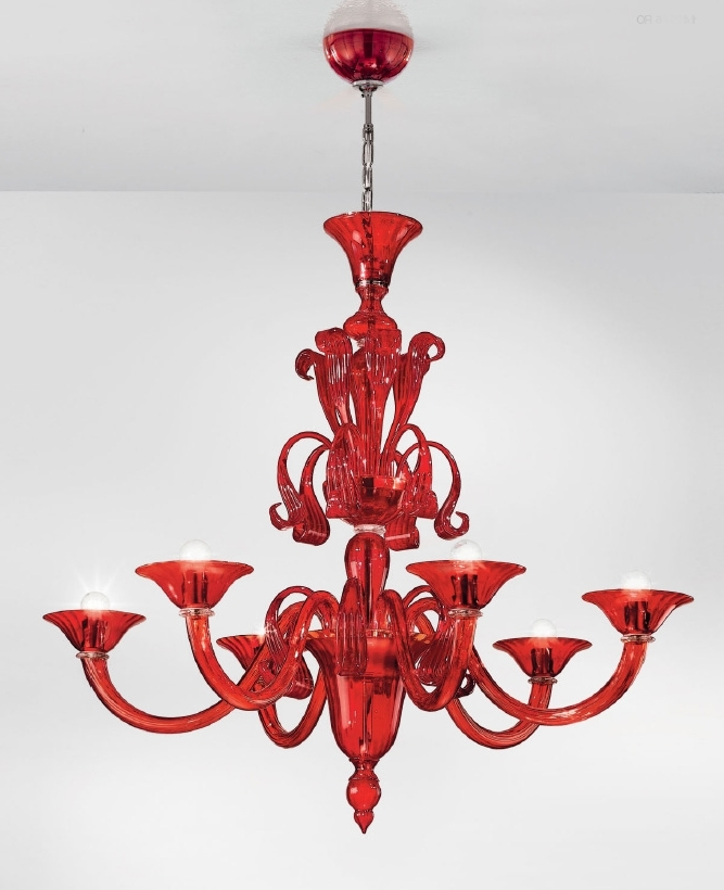 Ruby Red Modern Murano Glass Chandelier L1425K6 – Murano Lighting Regarding Recent Modern Red Chandelier (View 8 of 10)