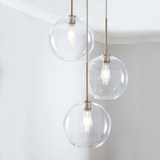 Sculptural Glass Globe 3 Light Chandelier – Medium (View 6 of 10)