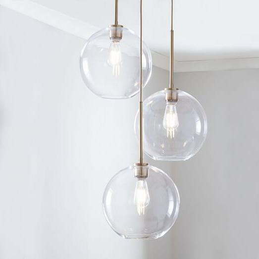 Sculptural Glass Globe 3 Light Chandelier – Medium (Gallery 6 of 10)