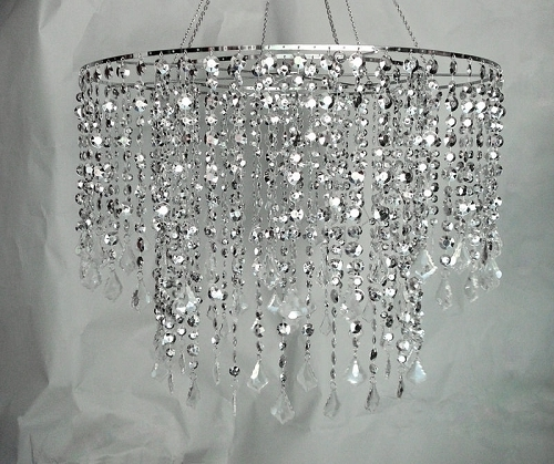 Silver Multi Diamond Cut Chandelier – 24 Inch Diameter In Well Known Silver Chandeliers (View 10 of 10)