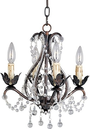 Small Bronze Chandelier Inside Most Popular Maxim Lighting 20052Oi Four Light Up Mini Chandelier, Oil Rubbed (View 7 of 10)